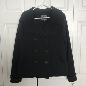 Women's black knit polyester casual pea coat 1x